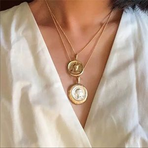 ¥ Vintage Double Chain Layered Coin Necklace